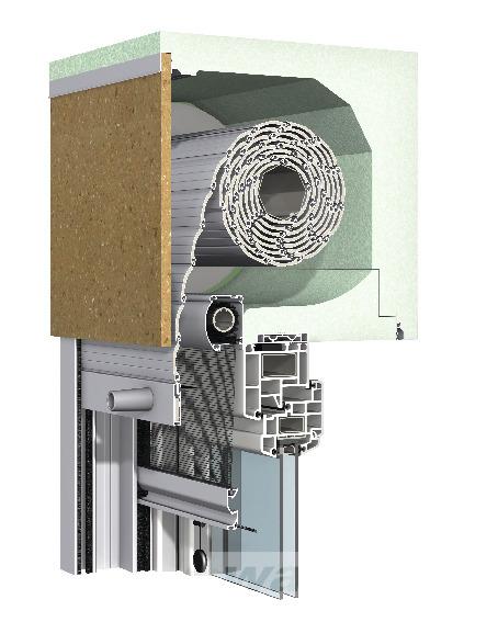 Aufsetz-Rollladen Putz Revision außen mit integriertem Insektenschutz