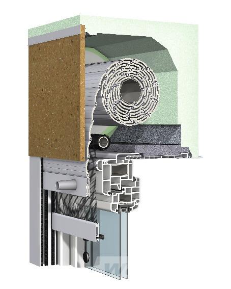 Aufsetz-Rollladen Putz Revision innen mit integriertem Insektenschutz