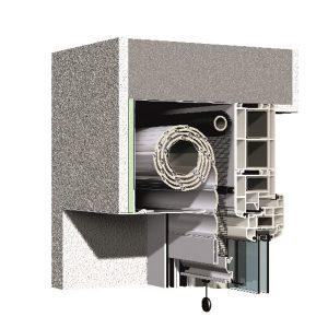 Vorbaurollladen V6 Putz mit integriertem ISG Rollo
